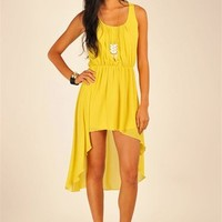 Key Hole High Low Dress - Yellow at Necessary Clothing