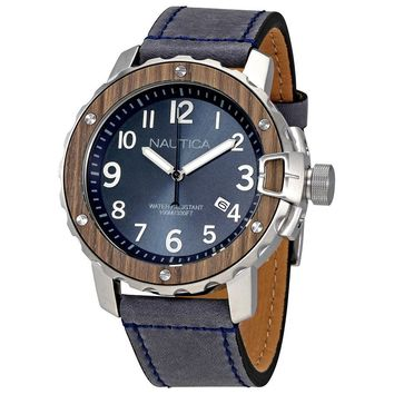 Nautica NMS 01 Blue Dial Wood Finish Blue Leather Mens Watch NAD15012G
