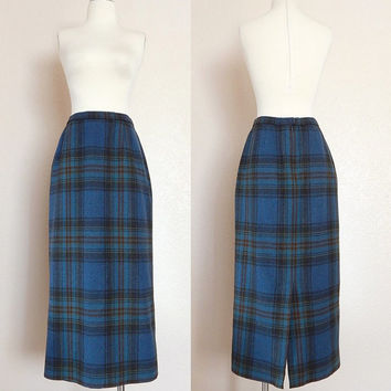 Vintage 90s Pendleton Blue Plaid Wool Maxi Column Skirt - High Waisted Women's Long Pencil Skirt - Size 8 Medium