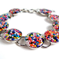 Candy resin bracelet - cupcake sprinkles bracelet - rainbow colored bracelet by Sparkle City Jewelry
