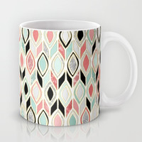 Patchwork Pattern in Coral, Mint, Black & White Mug by Micklyn