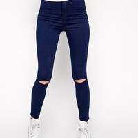 ASOS Rivington High Waist Denim Ankle Grazer Jeggings in Indigo With Ripped Knees