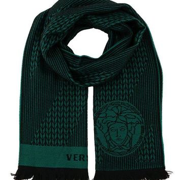 DCCK3SY Versace IT00636 VERDE Emerald Green 100% Wool Mens Scarf