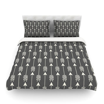 "Amanda Lane ""Tribal Arrows Dark Gray"" Featherweight Duvet Cover"