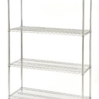 Seville Classics UltraZinc 4-Shelf Wire Shelving Rack, 18 x 48 x 72""