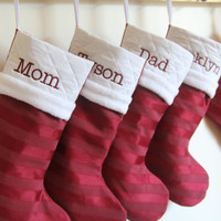 Large Personalized Christmas Stocking - Russet Red Satin Stripes