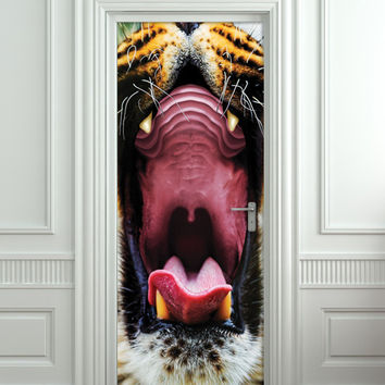 "Door STICKER tiger mouth animal mural decole film self-adhesive poster 30""x79""(77x200 cm)"