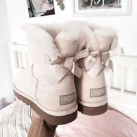 ugg women fashion bow leather wool snow boots-1