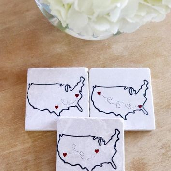 Long Distance Relationship Marble Coasters Gift