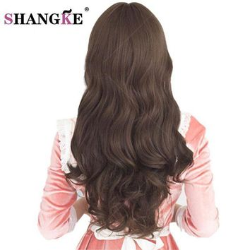 DCCKH0D SHANGKE 26'' Long Synthetic Wigs for Black Women  Long Brown Hair Wigs For African Americans wavy Heat Resistant Fake Hairpieces