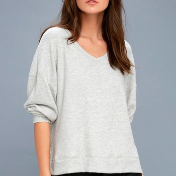 Can't Help Myself Heather Grey Sweater Top
