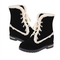 2015  Winter Fashion Classic Martin Boots Nubuck Leather Round Toe Crossover Lace-up Ankle Snow Boots For Ladies = 1946132740