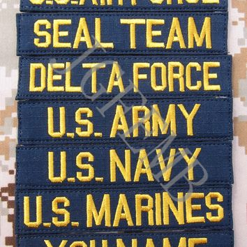 Blue Custom Name tapes Chest Tapes Services Tapes morale tactical military  Embroidery patch Badges
