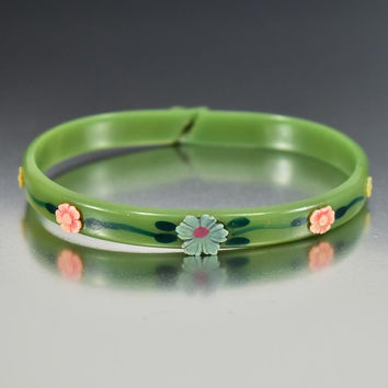 Art Deco Green Flower Celluloid Bangle Bracelet
