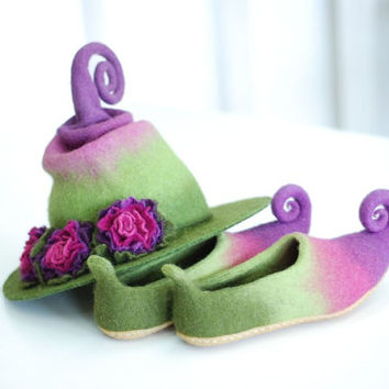 Adorable witch hat with flowers and shoes with curlytoes. Fantasy costume- CUSTOM MADE set in custom colors