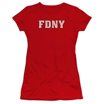FDNY Juniors T-Shirt New York Fire Dept Logo Red Premium Tee