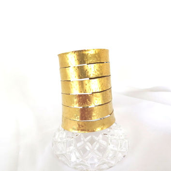 Very wide gold cuff, tribal Wonder Woman brass arm band, tall hammered cuff