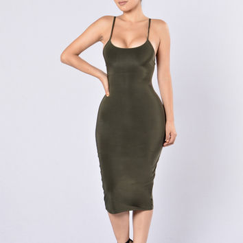 Uptown Chic Dress - Olive