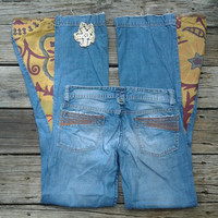 Sz 0 Bell Bottoms with Tapestry flares and Vintage Doily - size 25 - Handmade by The Hippie Patch
