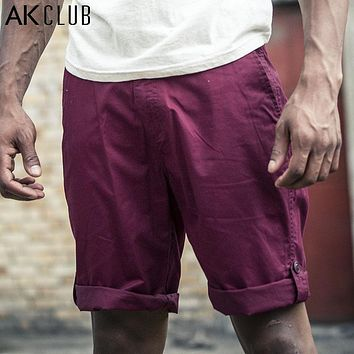 Men Shorts Military Style Vintage Shorts Pants Casual Roll Hem 100% Cotton Short Pants For Men