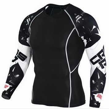 Mens Compression Shirts 3D Teen Long Sleeve Fitness Jerseys