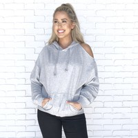 One Sided Cold Shoulder Grey Sweater