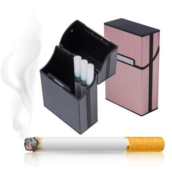 1 pc Aluminum Metal 20 Cigarette Case Lighters Best Friend Magnetic buckle Tobacco Box   PC880991