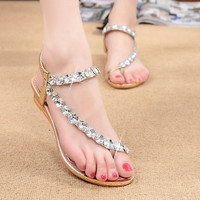 2016 New Sweet Crystal Rhinestone flip flops Women Sandals Flat Beaded Flats Soft Sweet Shoes Sandal