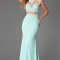 Floor Length Illusion and Lace Prom Dress from JVN by Jovani