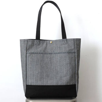 Herringbone Tote Bag Black Canvas