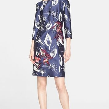 Women's Nordstrom Signature and Caroline Issa Embroidered Wool & Silk Twill Dress,