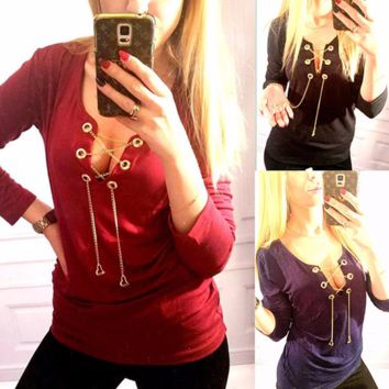Urban Trendy Gold Chain Lace Long Sleeve Shirt