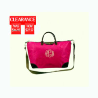 Clearance Personalized Fushia Longchamp Replica Carry On Weekender Travel Bag