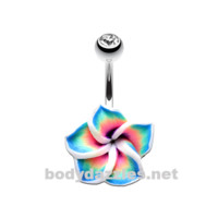 Hawaiian Plumeria Flower Non Dangle Belly Button Ring Stainless Steel Body Jewelry