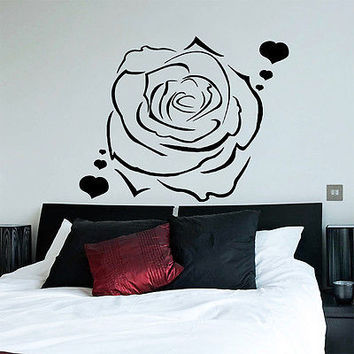 Wall Decals Rose Flower Heart Romantic Decal Bedroom Home Decor Vinyl Art MR316