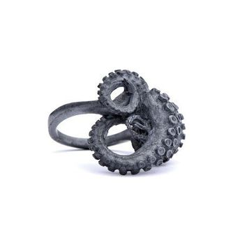 $200.00 Black Silver Tentacle Ring by heronadornment on Etsy