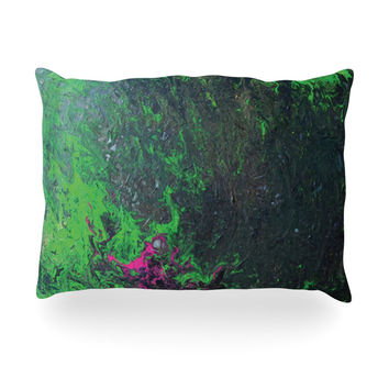"Claire Day ""Acid Rain"" Green Black Oblong Pillow"