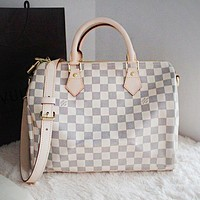 LV Women Shopping Leather Multicolor Tote Handbag Shoulder Bag White