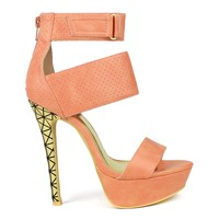 Mark and Maddux Divina-03 Perforated High Heel Platform Pump in Apricot @ ippolitan.com