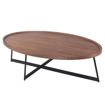 Julio Oval Coffee Table, Walnut