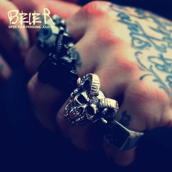 Beier new store 316L Stainless Steel men ring Goat horns skull punk biker ring  fashion jewelry LLBR8-406R