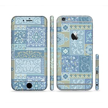 The Blue Patched Paisley Pattern Sectioned Skin Series for the Apple iPhone 6/6s Plus