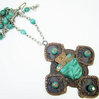 Copper and Carved Stone Mexican Mask Necklace Face Jewelry Large Pendant Bead Chain Tribal Jewelry