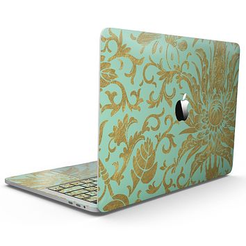 Mint and Gold Floral v6 - MacBook Pro with Touch Bar Skin Kit