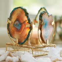 Turquoise Agate Slice Candle Holder