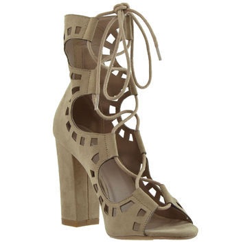 Womens Ghillie Lace Up Ankle Booties Taupe