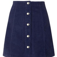 Cord Popper A-line Skirt - Navy Blue