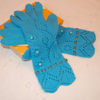 Cashmere gloves with fingers, luxurious one of a knit pair of blue cashmere gloves with high quality beads