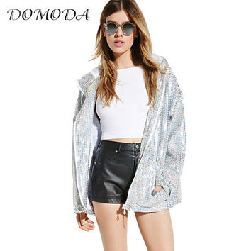 DOMODA Apparel Silver Sequins Casual Female Jacket Coat Spring Loose Zipper Women Basic Jacket Sweet Chic Hooded Coat Outwear