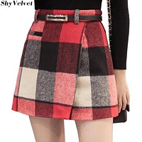 ShyVelvet 2017 Woolen Plaid Skirt Women Autumn Winter Fashion High Waist Sexy Mini Skirts